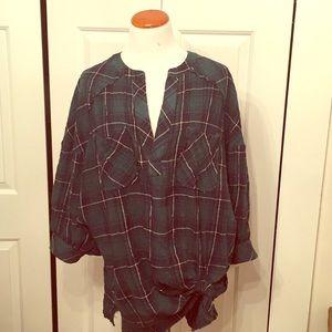 Free People Green/Navy tartan plaid tunic